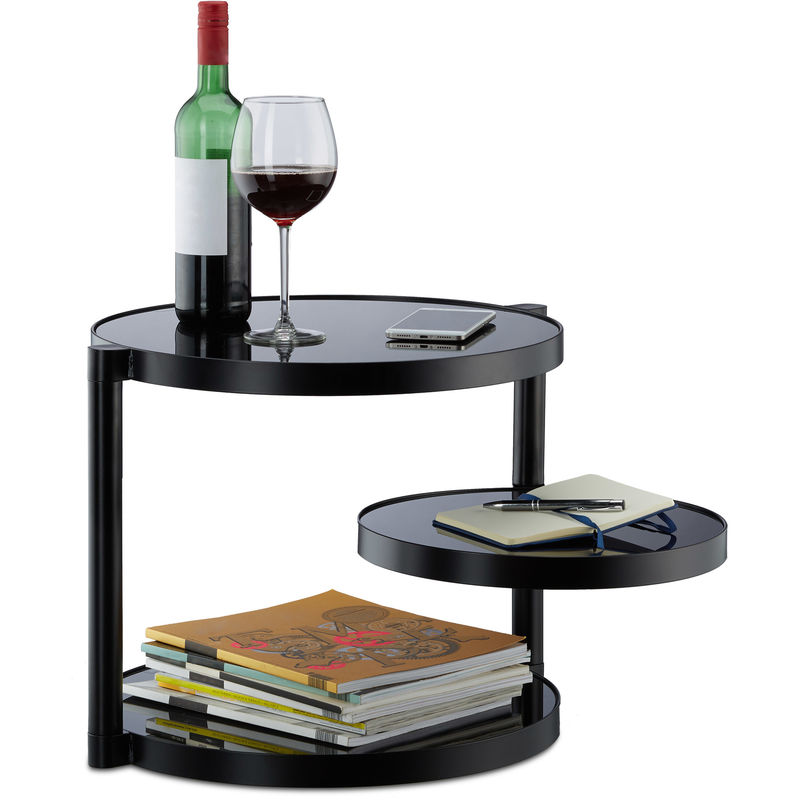 Relaxdays Glass Coffee Table With 3 Trays, Round Side ...