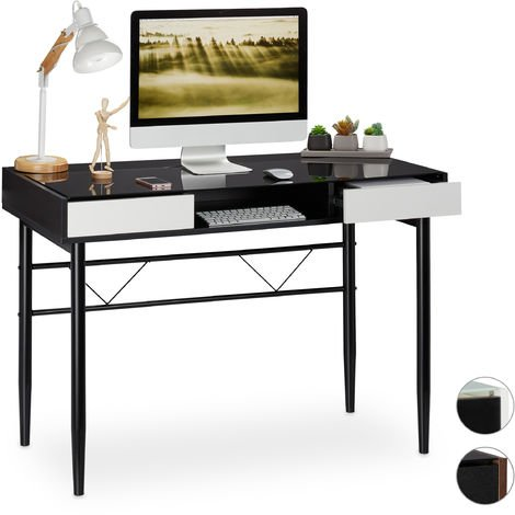 Relaxdays Glass Desk, Cable Hatch, Office Table With Drawers, PC Glass Table, HWD 78x110x55cm, Black