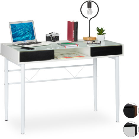 Relaxdays Glass Desk, Cable Hatch, Office Table With Drawers, PC Glass Table, HWD 78x110x55cm, White