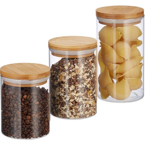 Relaxdays Glass Storage Jars, Set Of 3, In 500, 700 & 1000 ml, Pasta, Coffee, Tea, Biscuits, D 9.5 cm, Bamboo, Natural