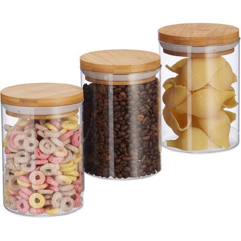 Relaxdays Glass Storage Jars, Set Of 3, Pasta, Coffee, Tea Or Biscuit Jar , 600 ml, HxD 14x9.5 cm, Bamboo, Natural