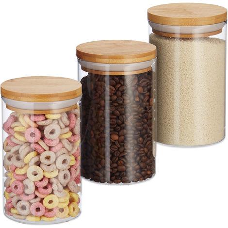 Relaxdays Glass Storage Jars, Set Of 3, Pasta, Coffee, Tea Or Biscuit Jar, 800 ml, HxD 16x9.5 cm, Bamboo, Natural