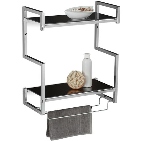 Relaxdays GLASS Wall-Mount Towel Holder, Size: 53 x 44.5 x 21 cm, Glass & Metal in Stainless Steel Look w/ 2 Towel Rails and 2 Shelves, Silver-Black