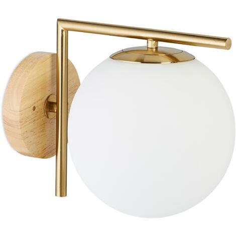 Relaxdays GLOBI Brass Wall Light, Metal, Glass Ball Shade, HxWxD: 23 x 20 x 28 cm, Modern, Design Lamp, Matt