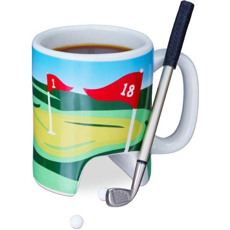 Relaxdays Golf Cup With Putter, 2 Golf Balls, Golfing Club Pen, Gag Gift, Coffee Mug, Multi-coloured