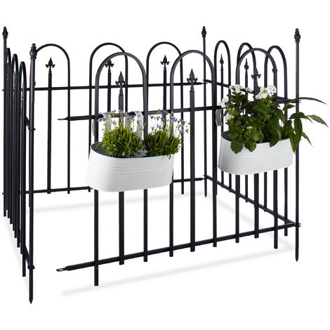 Relaxdays GOTH Metal Garden Fence, Complete Set, 4.8 m, Powder-Coated Iron, Metal Fence, 4 Panels of 90 x 120 cm, Grey, Black