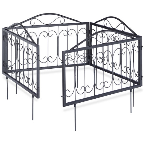 Relaxdays GOTH Set of 4 Metal Garden Fencing Panels, Yard Fence for Inserting, 33 x 56.5 cm, Various Colours