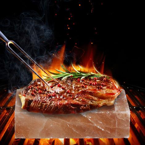 Relaxdays Gourmet Salt Stone Block For Cooking, Natural Aroma, BBQ Grill Block, Himalayan Rock Salt, 20x10x5cm, Pink