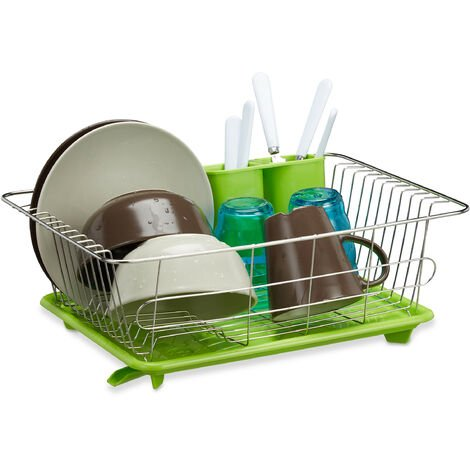 Relaxdays Green Dish Drainer, Stainless Steel with Plastic Tray, Cutlery Holder, Dish Rack, HxWxD: 15.5 x 40 x 30 cm, Green-Silver