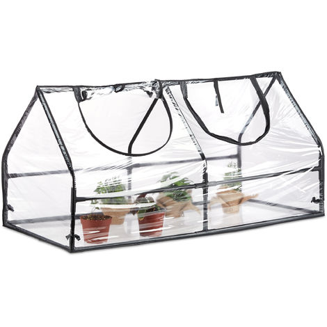 Relaxdays Greenhouse with Cover, PVC,Plug-In System, For Balcony, Garden, Patio and Yard, HWD: 60 x 120 x 60 cm, Transparent
