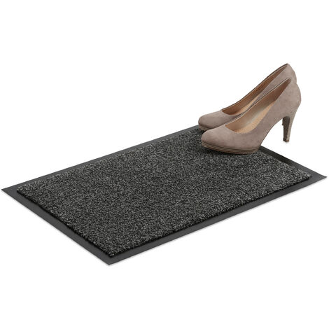 Relaxdays Grey Dirt Trapping Mat, Indoor Doormat, Large Dirt Catcher, Thin Door Mat, 40x60 cm, Black-Grey