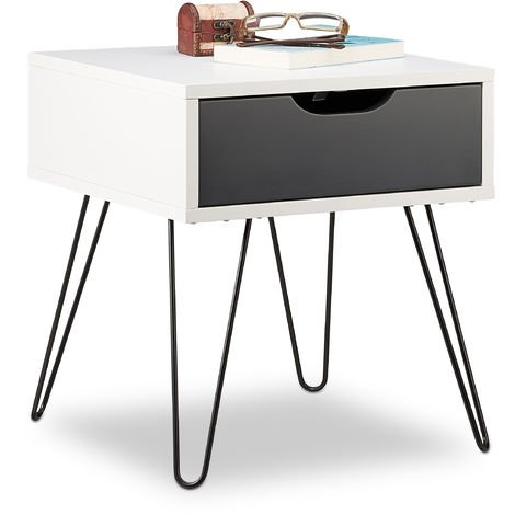 Relaxdays Grey-White Nightstand with Drawer, Modern Design, Square Tier, HxWxD: 44 x 40 x 40 cm
