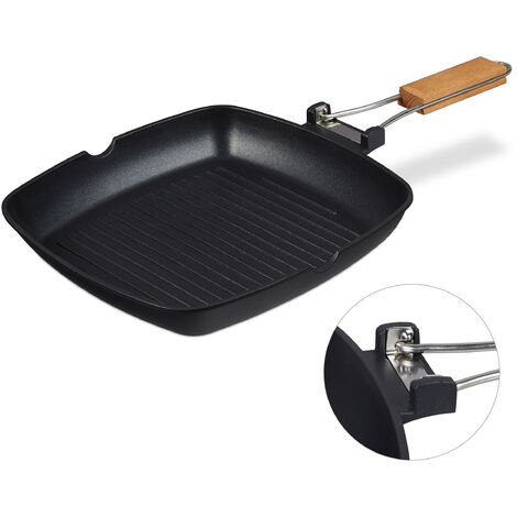 Relaxdays Grill Pan, Removable Wooden Handle, Nonstick, BBQ Rippled Skillet, Aluminium, Black
