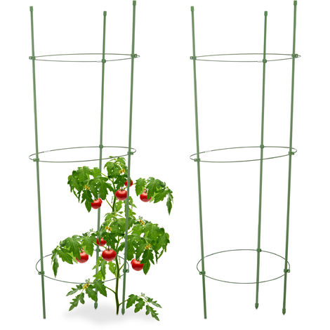 Relaxdays Growing Support for Tomatoes, Set of 2, Height-Adjustable Rings, Rods, Balcony, Patches, Plastic, 76 cm Long, Green