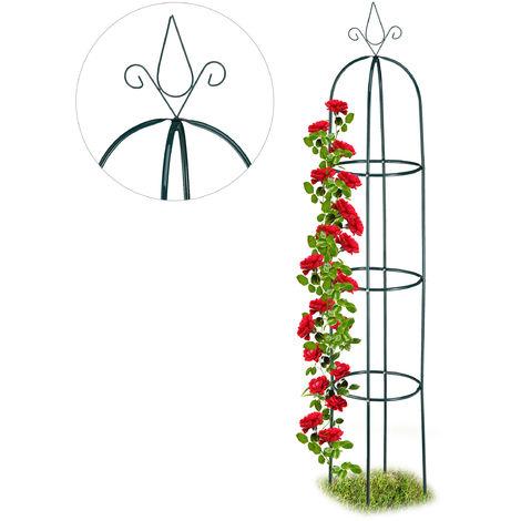 Relaxdays Growth Support, Freestanding Trellis for Wine & Tomatoes, XL Garden Obelisk, H: 200 cm, Dark Green