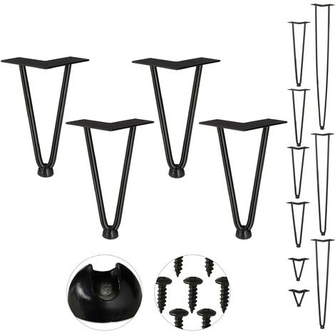 Relaxdays Hairpin Legs, Set of 4, 2 Bars, Metal, Table Support for Shelf and Stool, 20 cm, Black