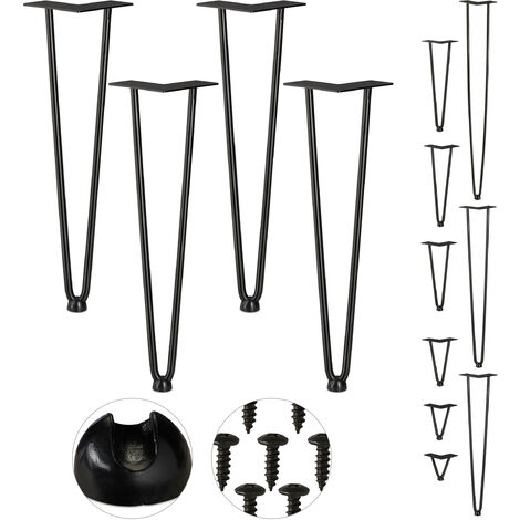 Relaxdays Hairpin Legs, Set of 4, 2 Bars, Metal, Table Support for Shelf and Stool, 45 cm, Black
