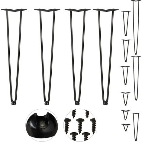 Relaxdays Hairpin Legs, Set of 4, 2 Bars, Metal, Table Support for Shelf and Stool, 60 cm, Black