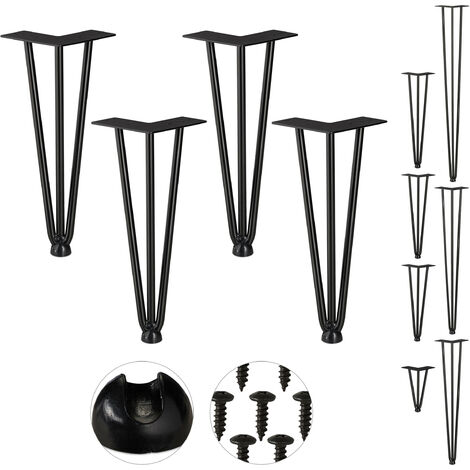 Relaxdays Hairpin Legs, Set of 4, 3 Bars, Metal, Table Support for Shelf and Stool, 30 cm, Black