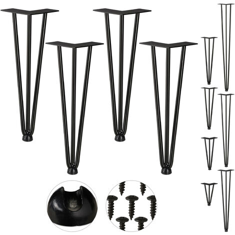 Relaxdays Hairpin Legs, Set of 4, 3 Bars, Metal, Table Support for Shelf and Stool, 36 cm, Black
