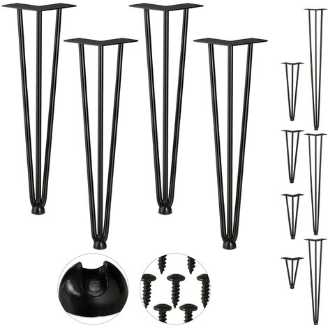 Relaxdays Hairpin Legs, Set of 4, 3 Bars, Metal, Table Support for Shelf and Stool, 45 cm, Black