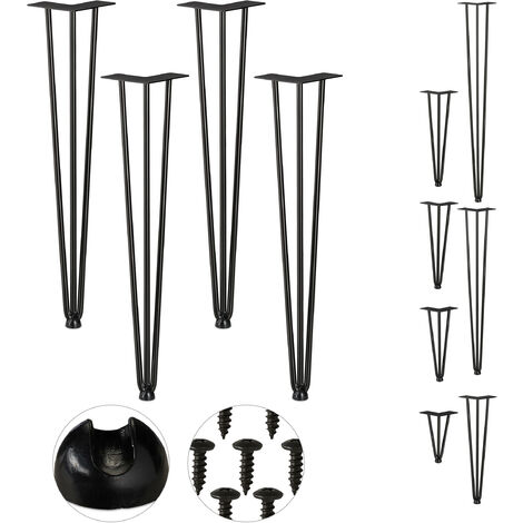 Relaxdays Hairpin Legs, Set of 4, 3 Bars, Metal, Table Support for Shelf and Stool, 60 cm, Black