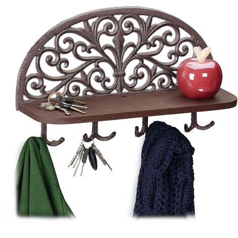 Relaxdays Hallway Coat Rack with Shelf, Antique Design, 4 Double Hooks, Keys, Cast Iron, HWD: 23x39x11.5 cm, Brown