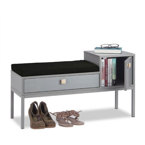Relaxdays Hallway Dresser Stand, Comfortable Padding, 2 Compartments, Drawer, Wooden Handles, Metal Legs, Narrow, HWD 50x90x30 cm, Grey
