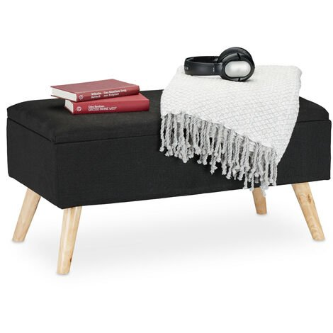 Relaxdays Hallway Storage Bench, Padded, Wooden Legs, Fabric Cover, HxWxD: 39.5 x 79.5 x 39.5 cm, Black