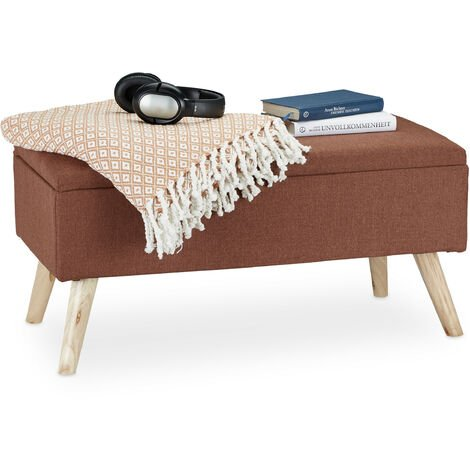Relaxdays Hallway Storage Bench, Padded, Wooden Legs, Fabric Cover, HxWxD: 39.5 x 79.5 x 39.5 cm, Brown