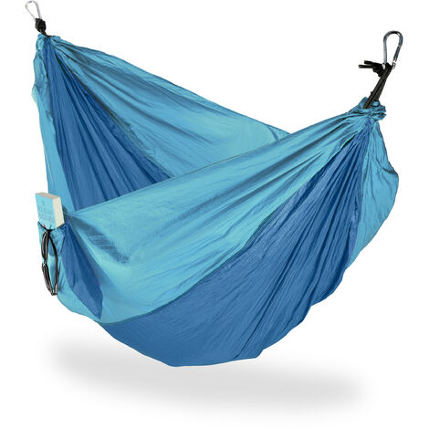 Relaxdays Hammock Outdoor, Travel Hammock for 2 People, Ultra-light,Camping, up to 200 kg, Blue