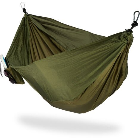 Relaxdays Hammock Outdoor, Travel Hammock for 2 People, Ultra-light,Camping, up to 200 kg, Dark-green