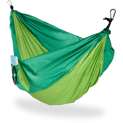 Relaxdays Hammock Outdoor, Travel Hammock for 2 People, Ultra-light,Camping, up to 200 kg, Light-green