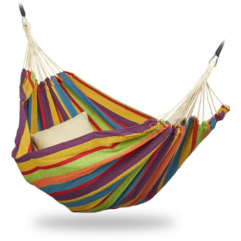 Relaxdays Hammock, XXL Hanging Mat For 2 Adults, Portable, In- & Outdoor, Made Of Cotton, 150x272 cm, Multi-coloured