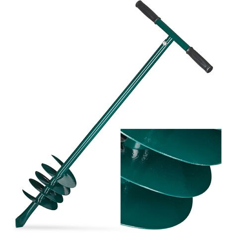 Relaxdays Hand Auger, Removable Handle, Hole Borer, Soil Digger, 140 mm, Plants, Fencing, Posts, 88cm Iron, Green