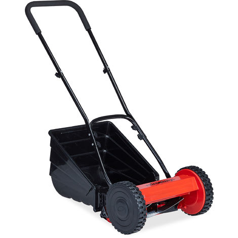 Relaxdays Hand Mower With Grass Box, Quiet, Adjustable Cutting Height, 29.cm Cutting Width, Cylinder Cutter, Black, Red