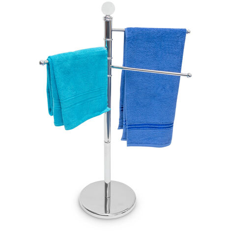 Relaxdays Hand Towel Stand Stainless Steel Height: 93.5 cm, Ø Base=29 cm With 3 Pivoting Arms with a Length of: 33 cm Free-Standing Metal Towel Rack & Clothes Stand 3 Movable Rails, Chrome, Silver