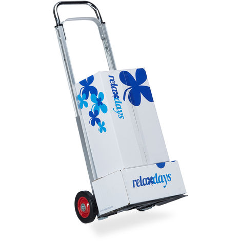 Relaxdays Hand Truck for up to 200 kg, Multifunctional Transport Trolley, Lightweight, Professional, Metal, Silver