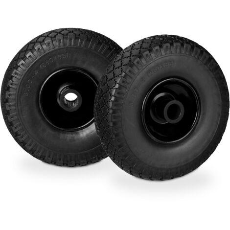 Relaxdays Hand Truck Spare Tyre Set, Flatproof, 3.00-4 Solid Rubber Wheel, 25mm Axle, 100 kg, 260 x 85 mm, Black-Black