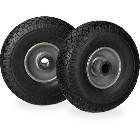 Relaxdays Hand Truck Spare Tyre Set, Flatproof, 3.00-4 Solid Rubber Wheel, 25mm Axle, 100 kg, 260 x 85 mm, Black-Grey