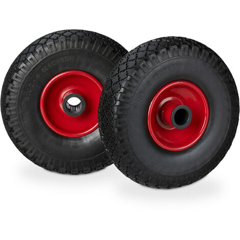 Relaxdays Hand Truck Spare Tyre Set, Flatproof, 3.00-4 Solid Rubber Wheel, 25mm Axle, 100 kg, 260 x 85 mm, Black-Red