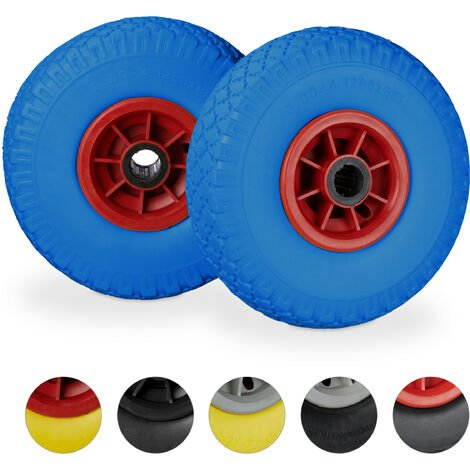 Relaxdays Hand Truck Spare Tyre Set of 2, Flatproof, 3.00-4 Solid Rubber, 25mm Axle, 80 kg, 260 x 85 mm, Blue/Red