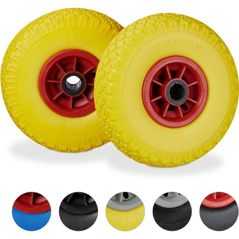 Relaxdays Hand Truck Spare Tyre Set of 2, Flatproof, 3.00-4 Solid Rubber, 25mm Axle, 80 kg, 260 x 85 mm, Yellow-Red