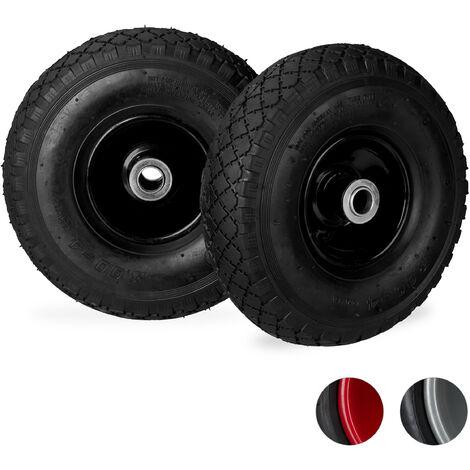 Relaxdays Hand Truck Wheels 3.00-4, Set of 2, Pneumatic, Up to 100 kg, 260 x 85 mm, Steel Rim Tyres, Black/Black