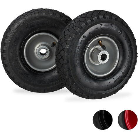 Relaxdays Hand Truck Wheels 3.00-4, Set of 2, Pneumatic, Up to 100 kg, 260 x 85 mm, Steel Rim Tyres, Black/Gray
