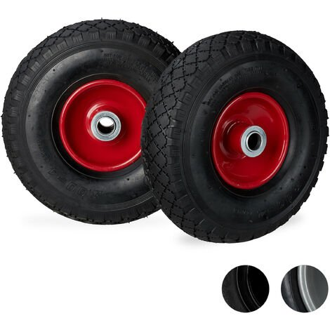 Relaxdays Hand Truck Wheels 3.00-4, Set of 2, Pneumatic, Up to 100 kg, 260 x 85 mm, Steel Rim Tyres, Black/Red