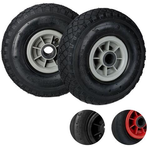 Relaxdays Hand Truck Wheels Set of 2, 3.00-4, Pneumatic Plastic Rim Tyres, 260x85 mm, Ø 25mm Axis, Black-Gray