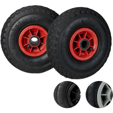 Relaxdays Hand Truck Wheels Set of 2, 3.00-4, Pneumatic Plastic Rim Tyres, 260x85 mm, Ø 25mm Axis, Black-Red