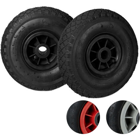 Relaxdays Hand Truck Wheels Set of 2, 3.00-4, Pneumatic Spare Tyres with Plastic Rims, 260x85 mm, Ø 25mm Axis, Black