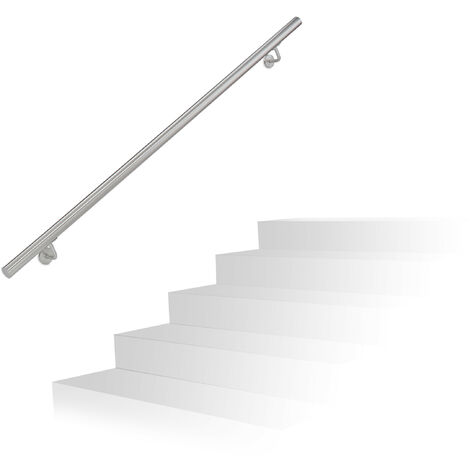 Relaxdays Handrail, Brushed Stainless Steel, Between 150 cm, Banister with Wall Holders and Metal Screws, Grey